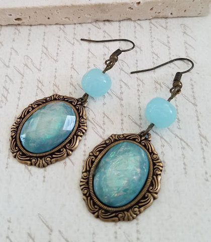 Aqua Cabochon Earrings