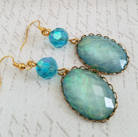 Blue Cabochon Earrings