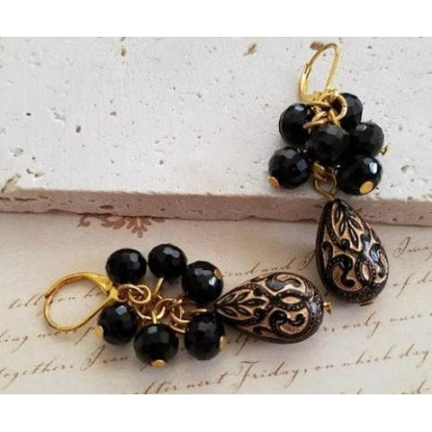 Black & Gold Teardrop Earrings