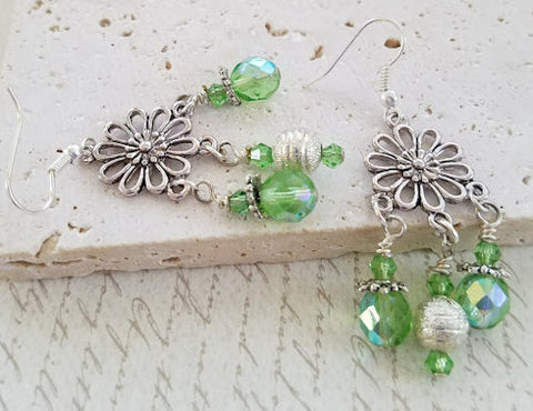 Spring Green Flower Chandelier Earrings
