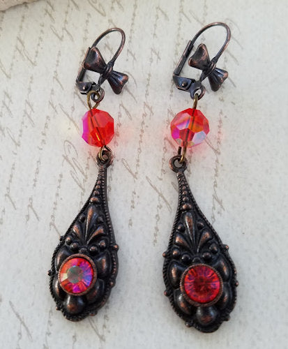 Hyacinth & Rusted Iron Earrings