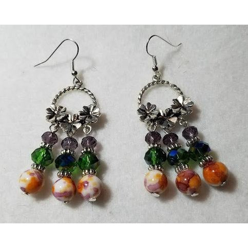 Lilac & Green Earrings