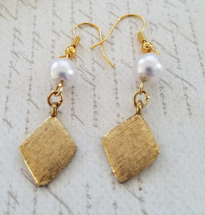 Brushed Gold & Pearl Earrings