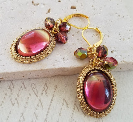 Pink German Glass Earrings