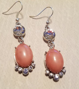 Coral & Rhinestone Earrings