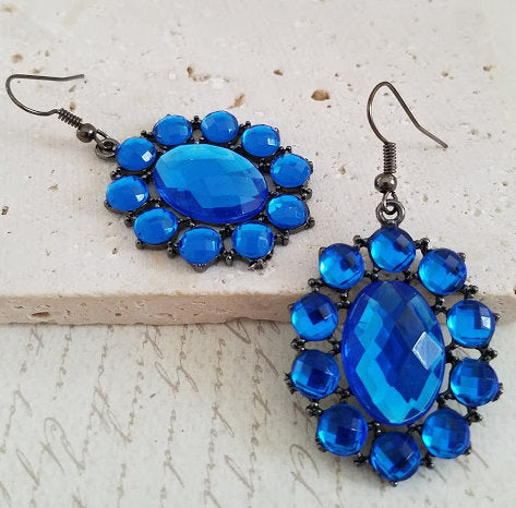 Bright Blue Rhinestone Earrings