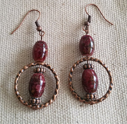 Deep Red African Glass Earrings