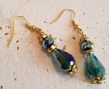 Green Faceted Teardrop Earrings