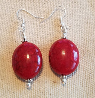 Red Marbled Acrylic Earrings