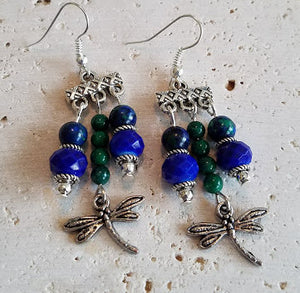 Blue & Green Gemstone Earrings