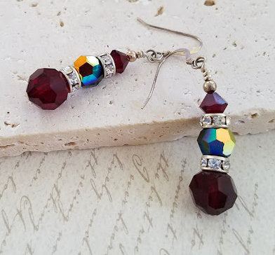 Garnet & Jet Swarovski Earrings