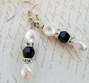 Jet Swarovski Crystal & Pearl Earrings