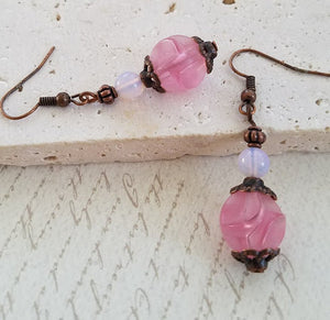 Pink Sculpted Bead Earrings