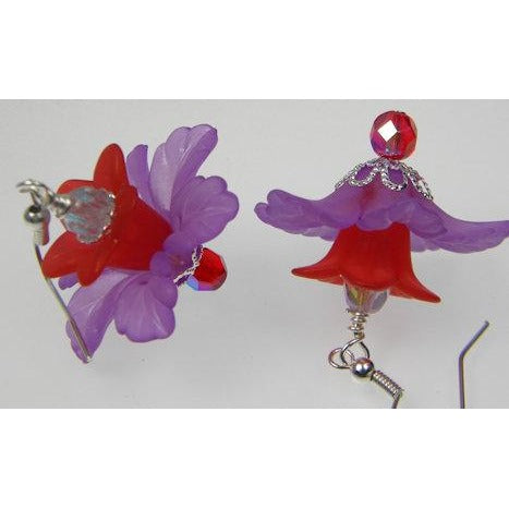 Violet & Red Flower Earrings