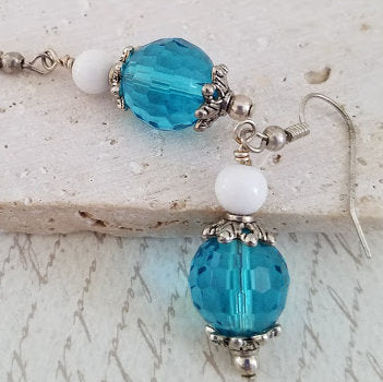 Aqua & White Earrings