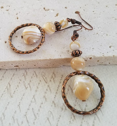 Mother of Pearl & Copper Earrings