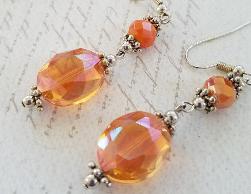 Apricot Czech Glass Earrings