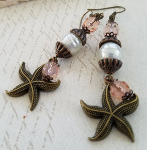Brass Starfish Earrings