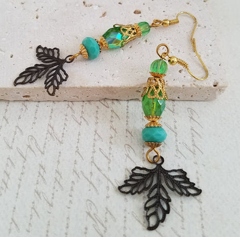 Green & Rusty Black Leaf Earrings