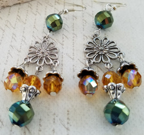 Topaz & Green Chandelier Earrings