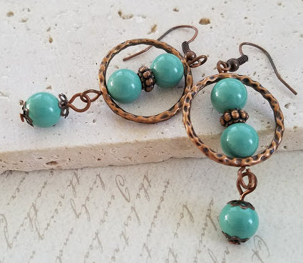 Jade Pearl & Copper Earrings