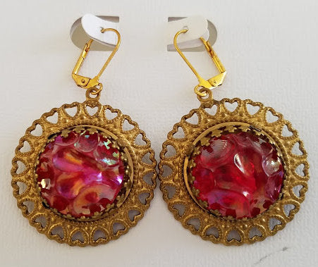 Red Austrian Vintage Lucite Earrings