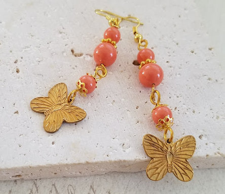 Coral Butterfly Earrings