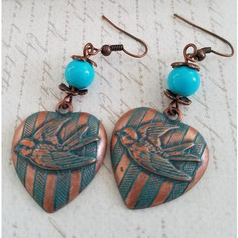 Aqua Copper Heart with Bird Earrings