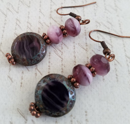 Amethyst Czech Glass Earrings