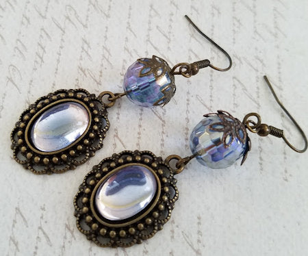 Pale Blue German Glass Earrings