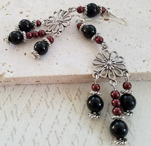 Onyx & Burgundy Chandelier Earrings