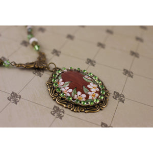 Handpainted Floral Cameo Necklace