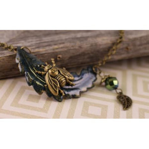 Brass Bee on Blue Leaf Necklace