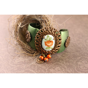 Painted Orange Floral Cameo Cuff Bracelet
