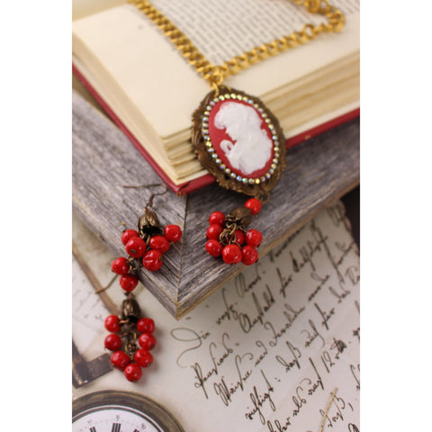Lady on Red Cameo Necklace