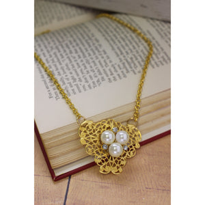 Triple Pearls on Filligree Necklace
