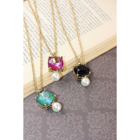 Purple Rivoli & Pearl Pendant Necklace
