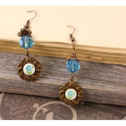 Blue Rose Cameo Earrings