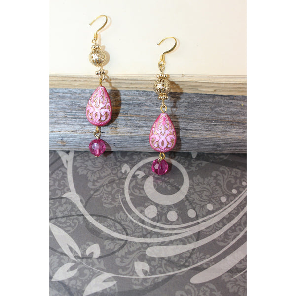 Pink Victorian Teardrop Earrings