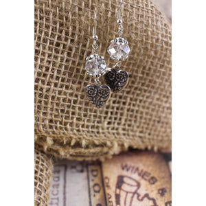 Silver Floral Heart Earrings