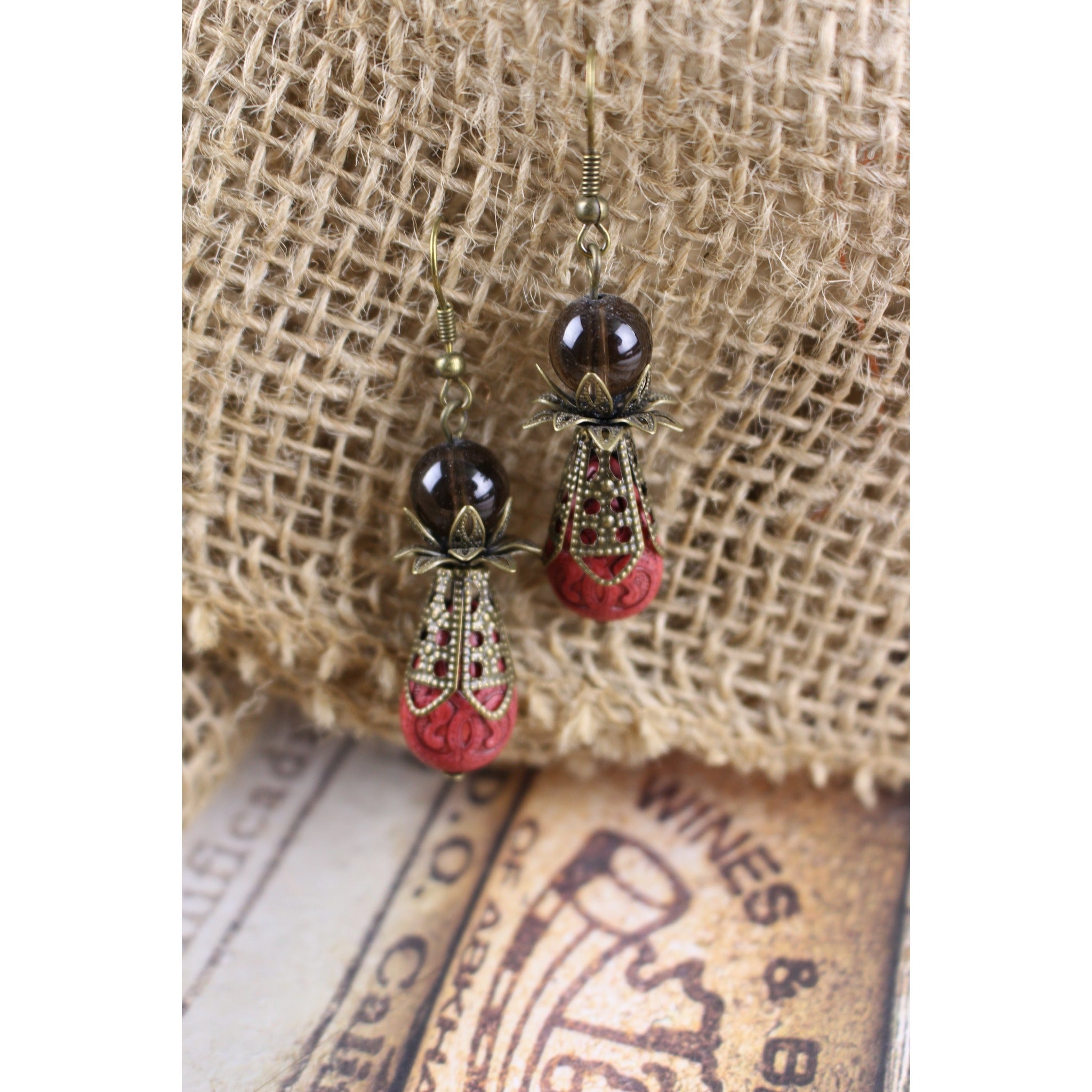 Victorian Red & Smoky Quartz Earrings