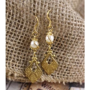 Art Deco Brass & Pearl Earrings