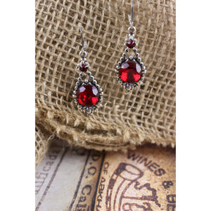 Red Cabochon Earrings
