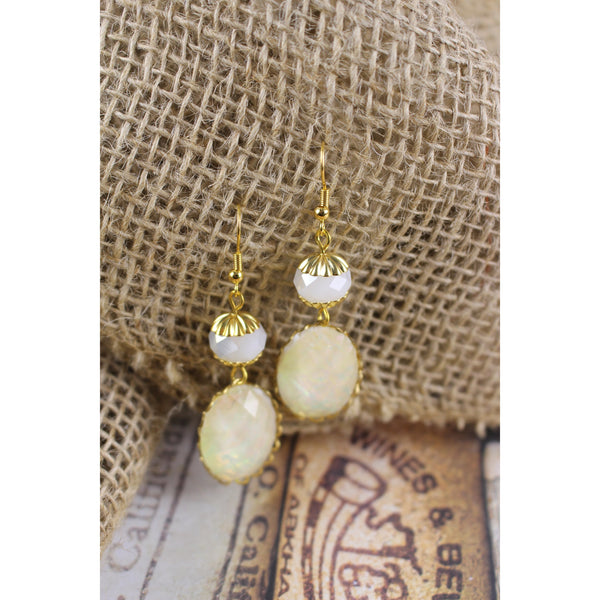 White Opalite Cabochon Earrings