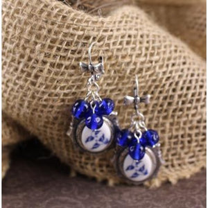 Blue Willow Bird Cameo Earrings