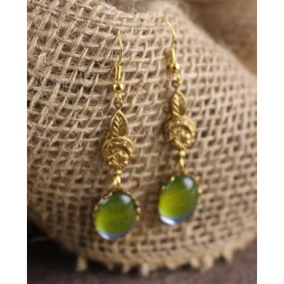 Green German Glass Earrings