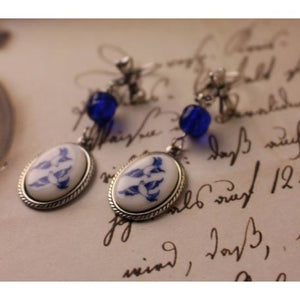 Blue Willow Cameo Earrings