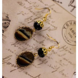 Earth Tone Czech Glass Earrings