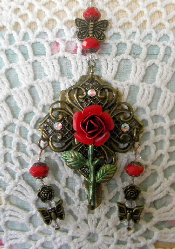 Red Rose Altered Key Necklace