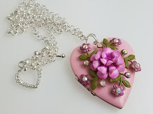 Vintage Locket, Pink Flower Necklace